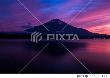 富士山 夕焼け 台風一過 山中湖 34930155