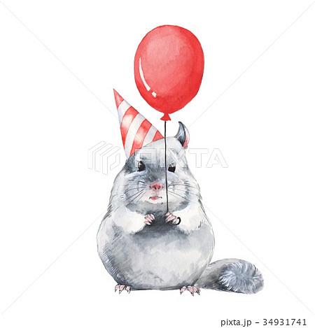Chinchilla 1. Watercolor birthday card 34931741