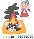 女性 シニア 火事のイラスト 34935035