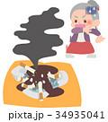 女性 シニア 火事のイラスト 34935041