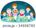 クリスマス ごちそう 食事をするのイラスト 34936783