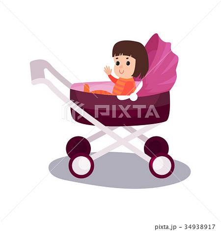 sweet little girl sitting in a purple modern babyのイラスト素材