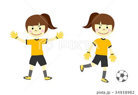 サッカーをする女の子 ゴールキーパー 34938962