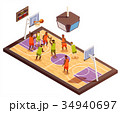 Basketball Court Isometric Composition 34940697