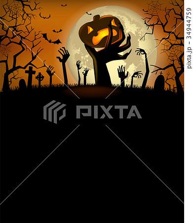 halloween invitation with zombies handsのイラスト素材 34944759 pixta