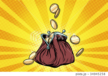 Purse with gold coins 34945258