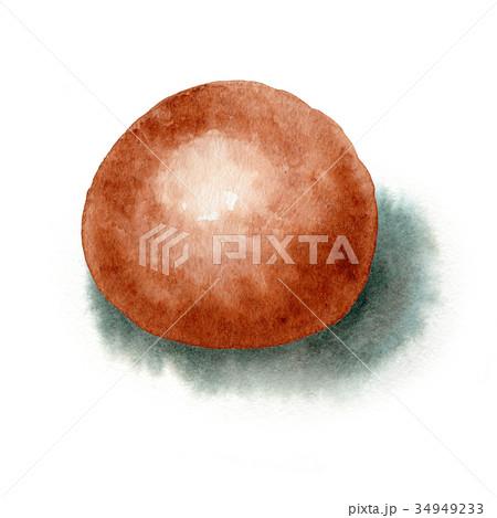 水彩で描いた茶まんじゅう・温泉まんじゅう・黒糖まんじゅう 34949233