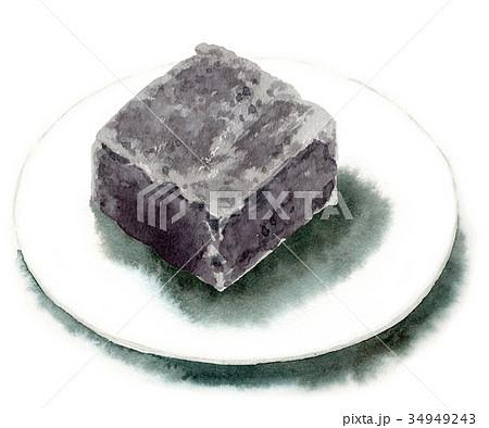 水彩で描いた和菓子/きんつば 34949243