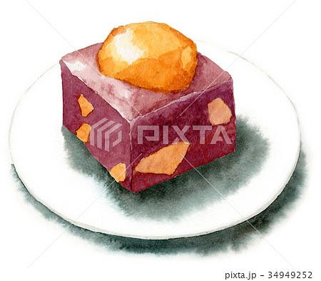 水彩で描いた和菓子/栗蒸しようかん 34949252