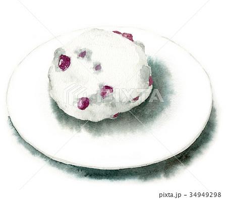 水彩で描いた和菓子/豆大福 34949298