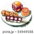 和菓子 セット 秋のイラスト 34949588