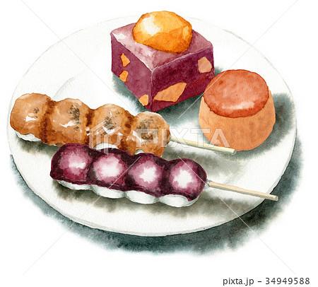 手描き水彩秋の和菓子セット 34949588