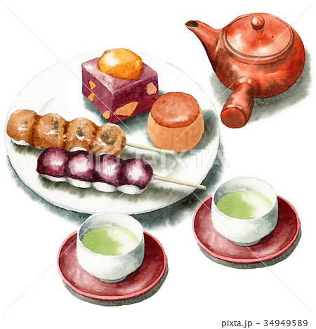手描き水彩秋の和菓子と日本茶セット 34949589