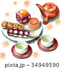 和菓子 セット 秋のイラスト 34949590