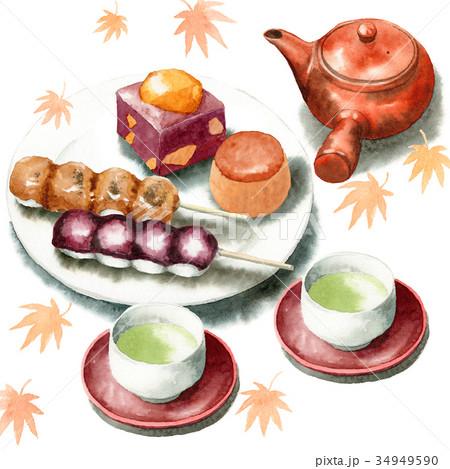 手描き水彩秋の和菓子と日本茶セット 34949590
