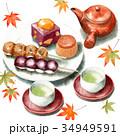 和菓子 セット 秋のイラスト 34949591