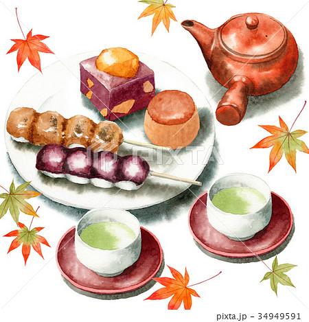 手描き水彩秋の和菓子と日本茶セット 34949591