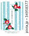 椿 竹 寒中見舞いのイラスト 34958377