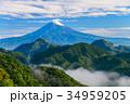 新緑 富士山 山の写真 34959205
