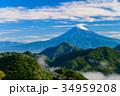 新緑 富士山 山の写真 34959208