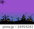 ハロウィンシルエット (紫-青背景 月無し) 34959283