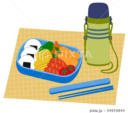 おにぎりとおかず お弁当と水筒 34959844