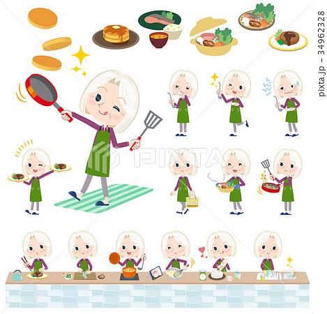 purple shirt old women White_cooking 34962328