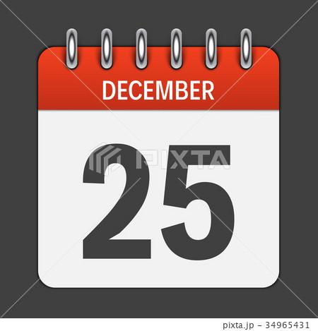 December 25 Calendar Daily Icon. Vector 34965431