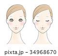 女性 顔 ビューティーのイラスト 34968670
