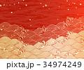 波 波柄 バックグラウンドのイラスト 34974249