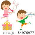 プレゼント 女の子 男の子のイラスト 34976977
