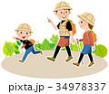 トレッキング 家族 ハイキングのイラスト 34978337