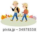 トレッキング 秋 ハイキングのイラスト 34978338
