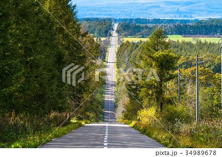 《北海道》道東・田舎の一本道 34989678