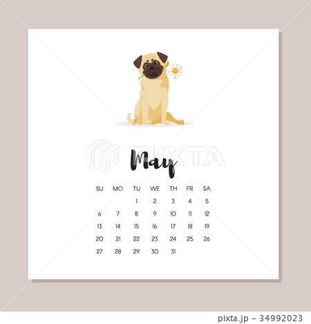 may dog 2018 year calendarのイラスト素材 34992023 pixta