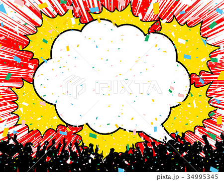 吹出し 紙吹雪 観客 34995345
