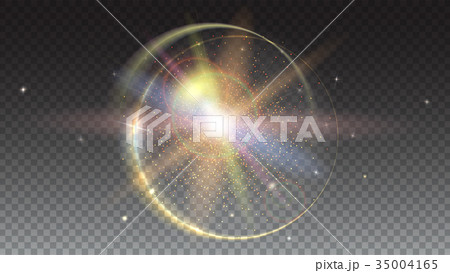 Circular light rays and lens flare backdrop 35004165