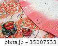 正月イメージ素材 扇子と獅子舞 35007533