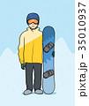 ウィンター 冬 スノボのイラスト 35010937