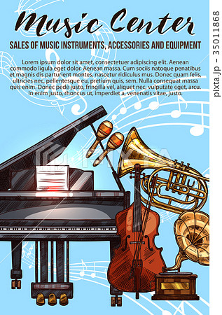 Music instrument sketch banner with musical notes 35011868