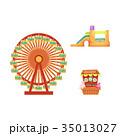 vector amusement park objects icon set 35013027