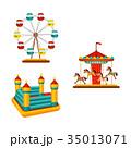 vector amusement park objects icon set 35013071