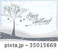 Greeting card with winter tree 35015669