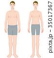 男性 ダイエット ビフォーアフターのイラスト 35017367
