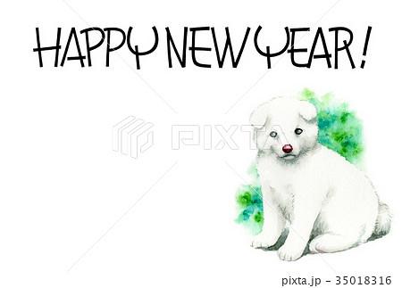 白い子犬の賀詞入り年賀ハガキ素材 35018316
