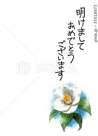 白い椿の賀詞入り年賀ハガキ素材 35018973