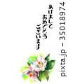 花 年賀状 はがきテンプレートのイラスト 35018974