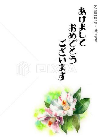 サザンカの賀詞入り年賀ハガキ素材 35018974
