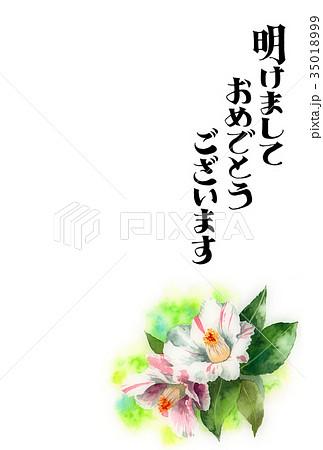 サザンカの賀詞入り年賀ハガキ素材 35018999
