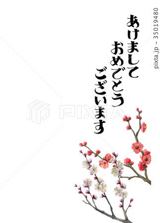 紅白梅の賀詞入り年賀ハガキ素材 35019480